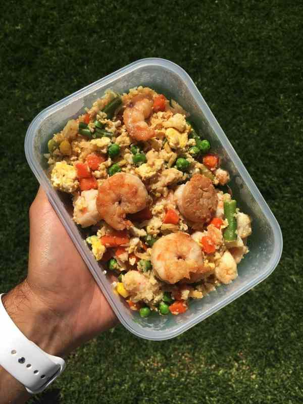 shrimp fried cauliflower rice meal prep