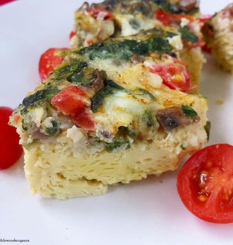 slow cooker vegetable frittata breakfast recipe