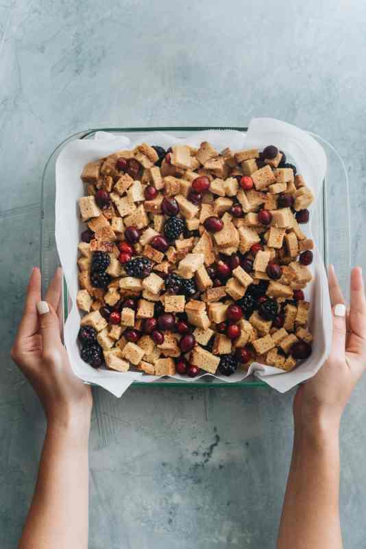 Paleo Cran-Blackberry Overnight French Toast