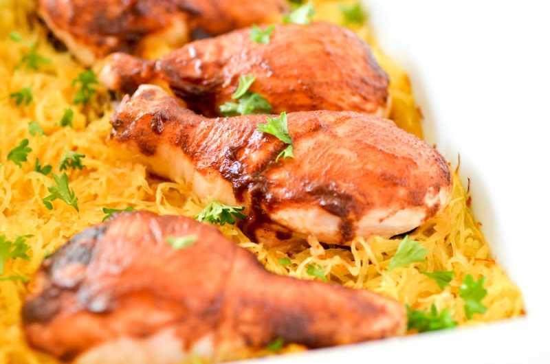 One Dish Sicy BBQ Chicken Drumsticks & Spaghetti Squash-, One Dish Spicy BBQ Chicken Drumsticks & Spaghetti Squash