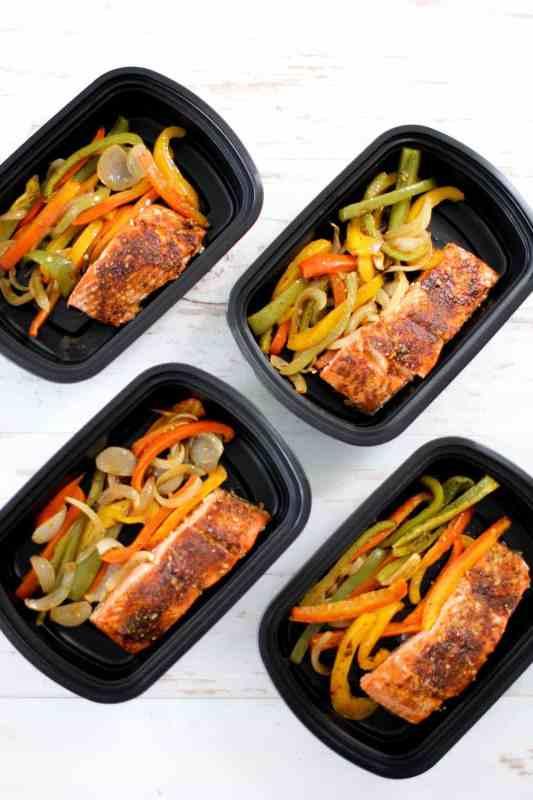 One Pan Fajita Salmon Meal Prep