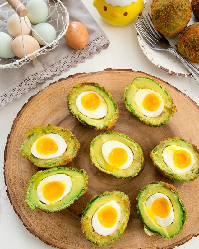 Eggs inside of an Avocado