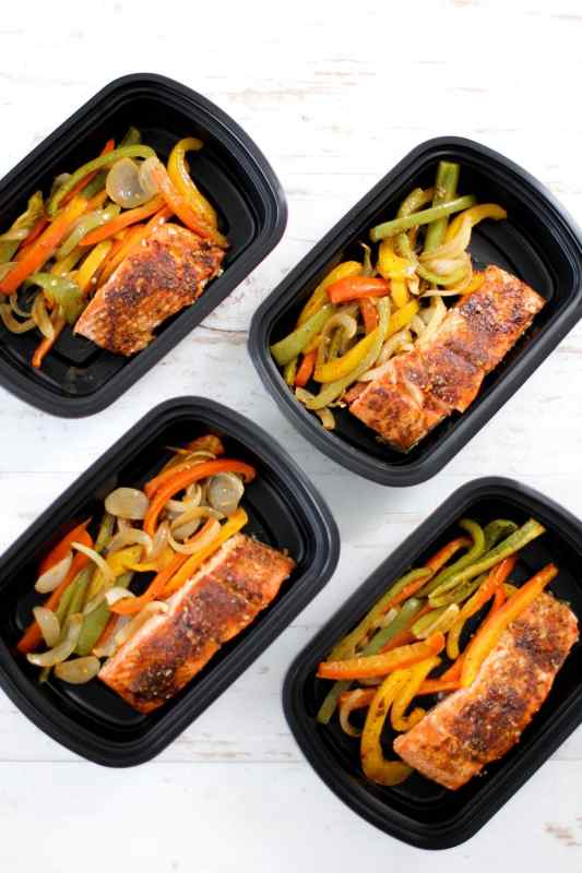 one pan fajita salmon meal prep