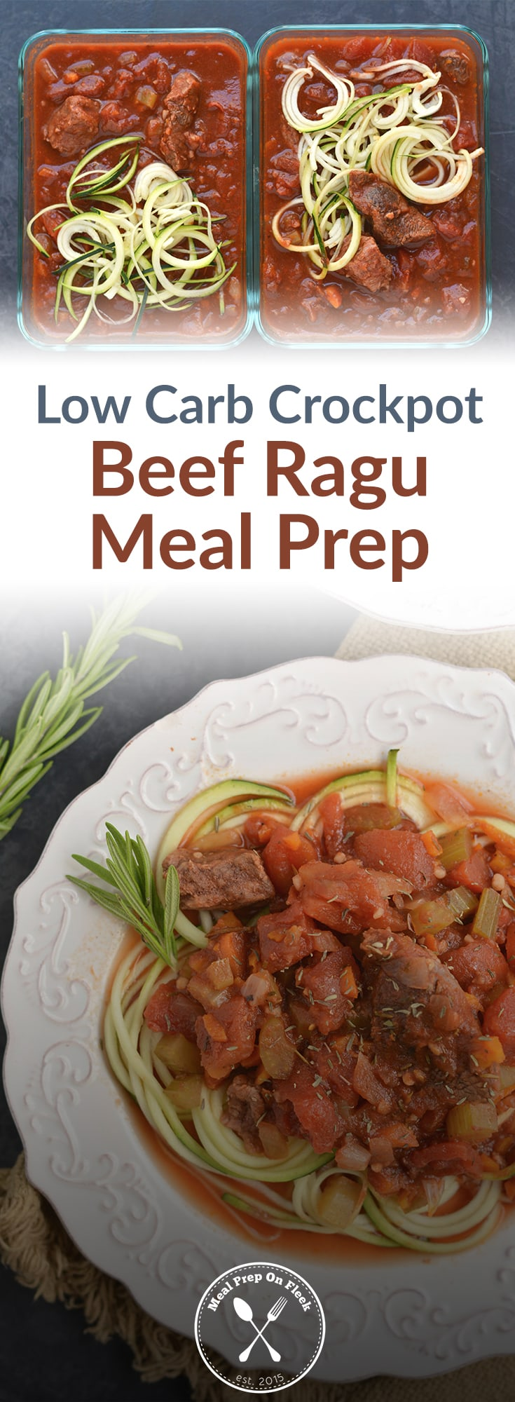 Low Carb Crockpot Beef Ragu Meal Prep