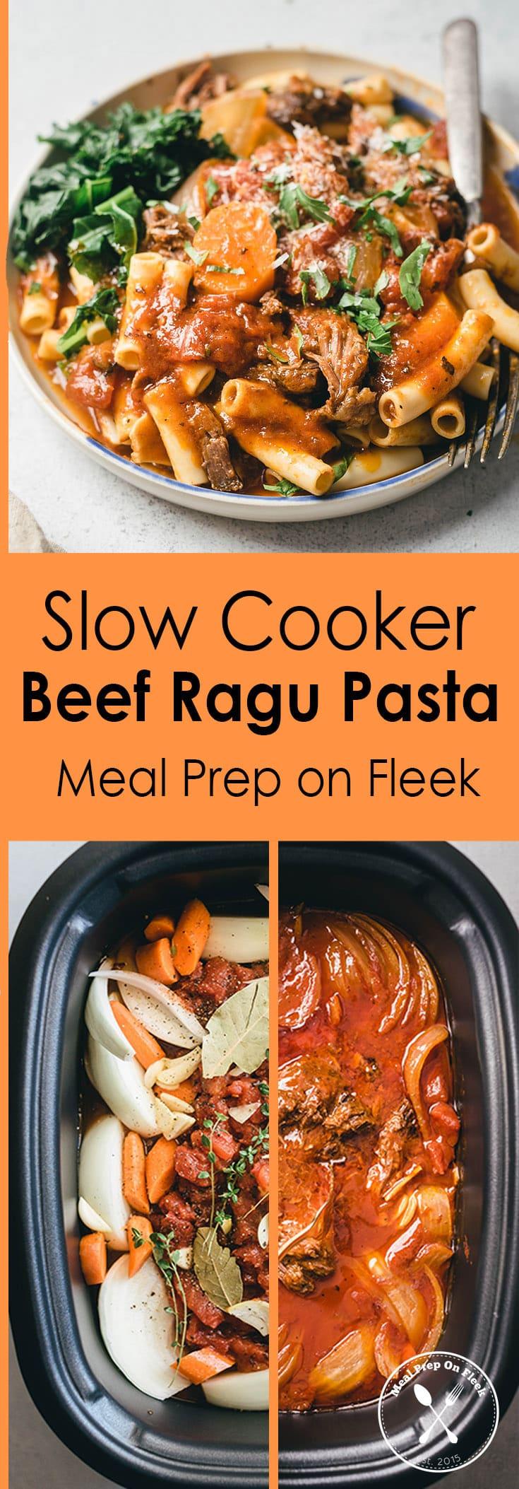 Slow Cooker Beef Ragu Pasta Meal Prep Recipe