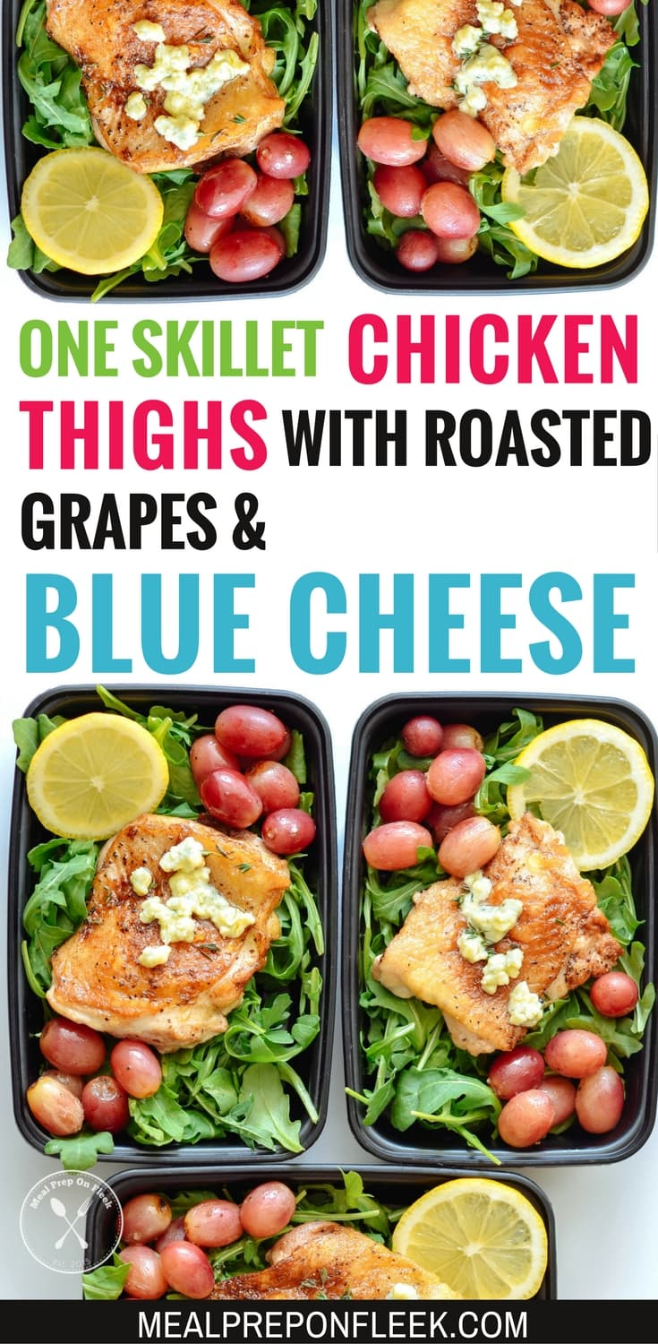 One Skillet Chicken Thighs With Roasted Grapes & Blue Cheese