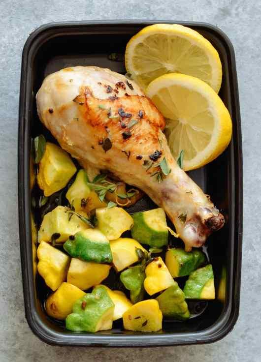 One Pan Garlic & Herb Chicken Drumsticks with Patty Pan Squash