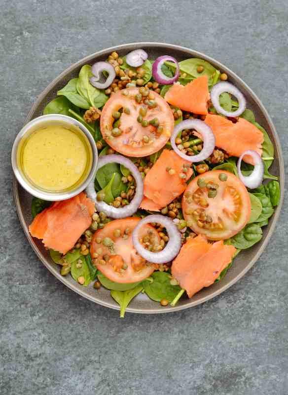 Smoked Salmon & Lentil Breakfast Salad
