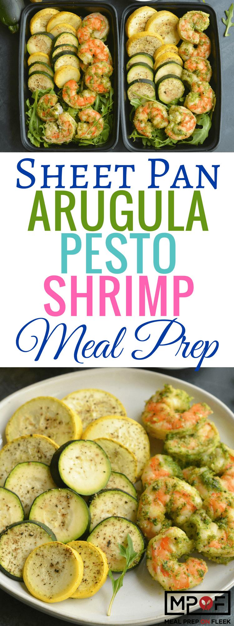 Sheet Pan Arugula Pesto Shrimp Meal Prep