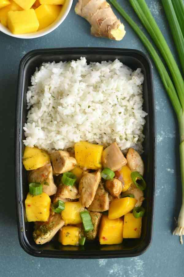Lighter Mango Chicken Sticky Rice Meal Prep