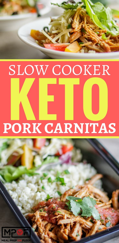Slow Cooker Keto Pork Carnitas Bowls