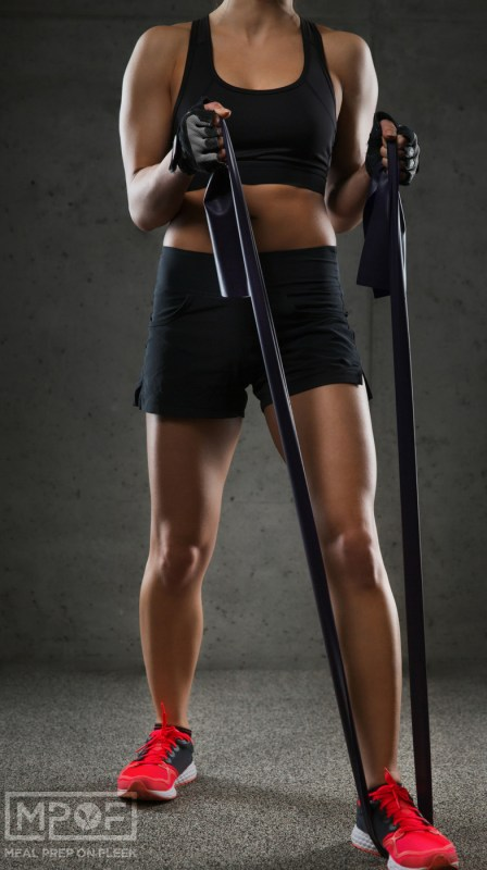 bicep workout with exercise bands