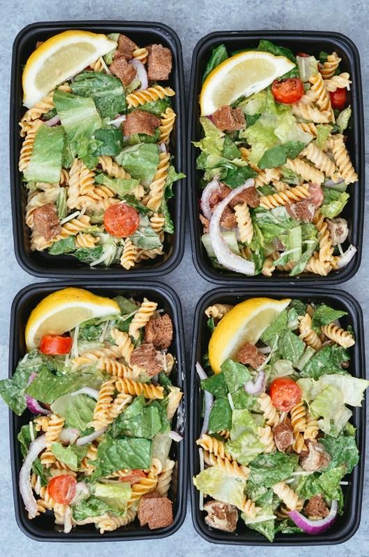 Gluten Free Caesar Pasta Salad Meal Prep