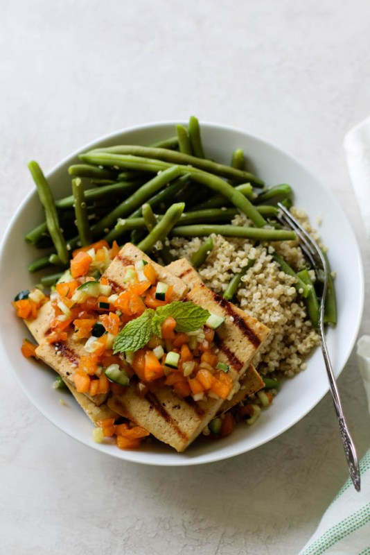 Vegan Apricot Cucumber Tofu Steak Meal Prep