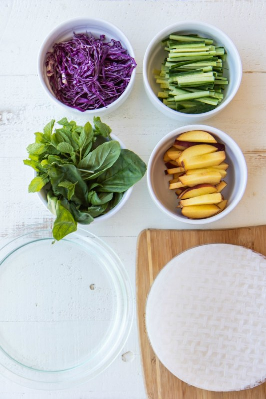 Peach Summer Rolls With Tahini Dipping Sauce