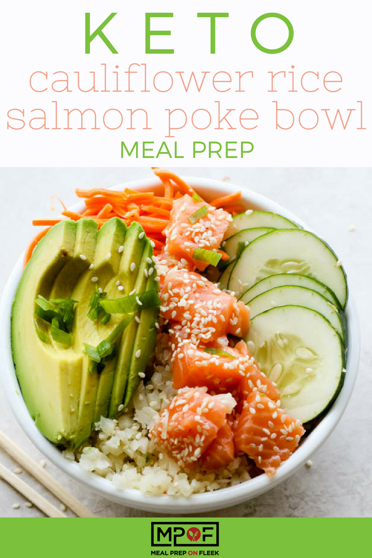 Keto Cauliflower Rice Salmon Poke Bowl Meal Prep