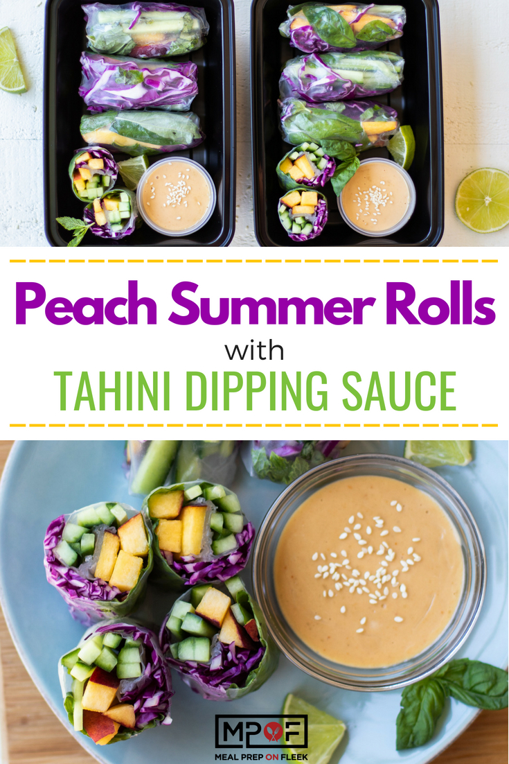 Peach Summer Rolls With Tahini Dipping Sauce blog