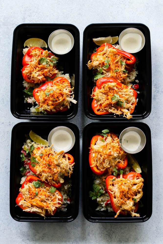 Whole30 Buffalo Chicken Stuffed Pepper Meal Prep --4