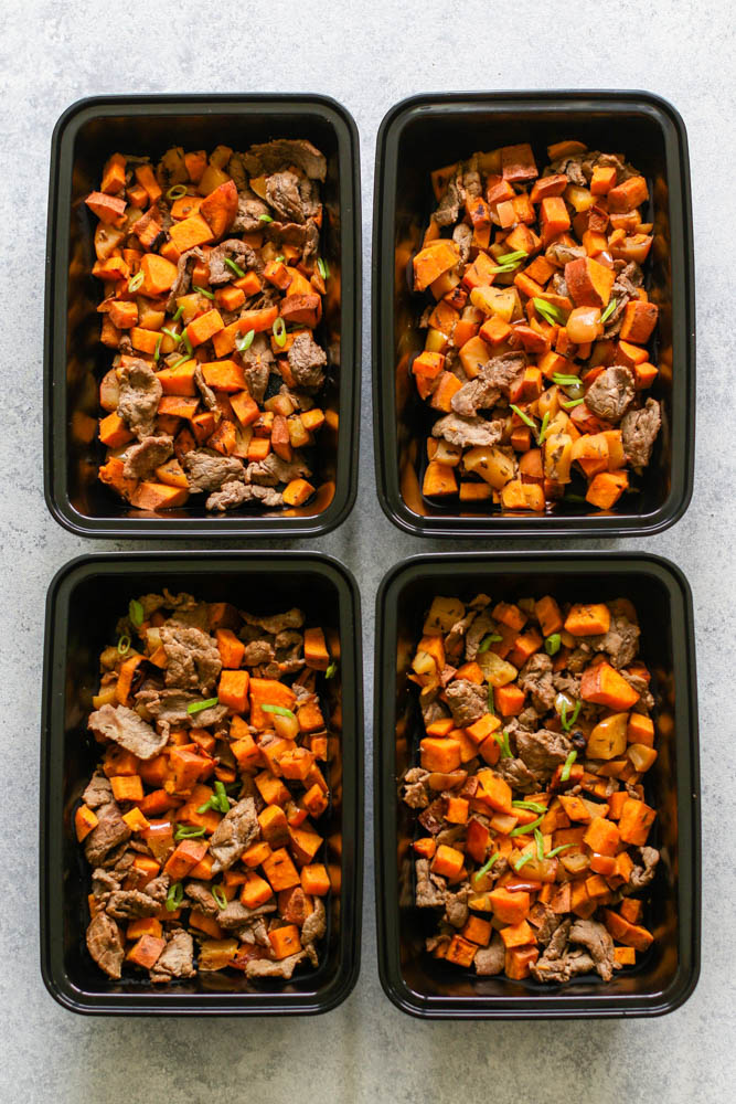 Whole30 Shredded Steak, Sweet Potato, & Apple Skillet Meal Prep ---4