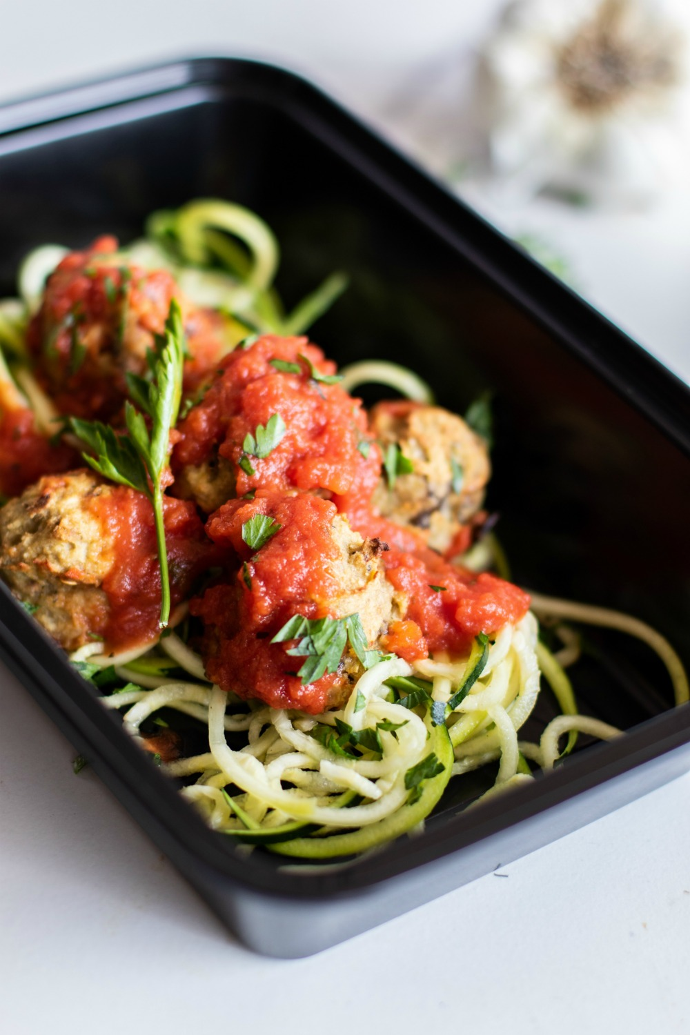 eggplant meatball and zoodle meal prep
