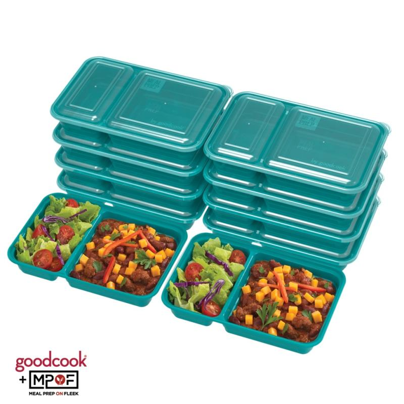 Two Compartment Meal Prep Container Teal