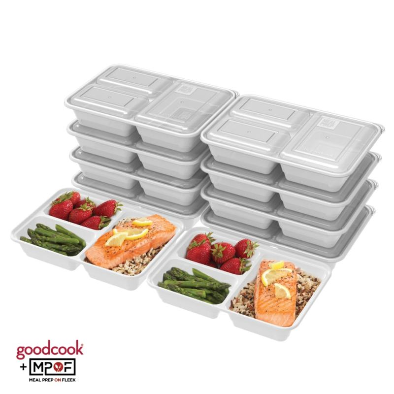 Three Compartment Meal Prep Container White