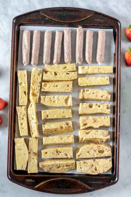 French Toast Sticks & Breakfast Sausage Sheet Pan