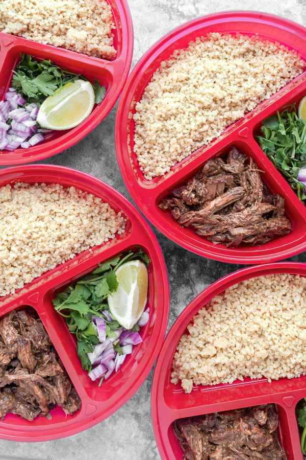 Instant Pot Beef Barbacoa Meal Prep Bowls