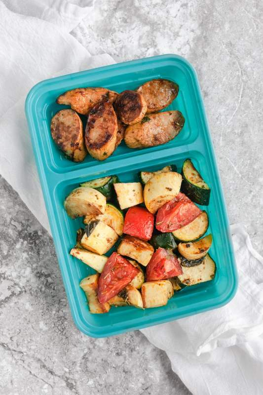 Balsamic Sausage and Veggie Meal Prep