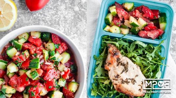 Sheet Pan Thyme Pork Chops and Marinated Salad