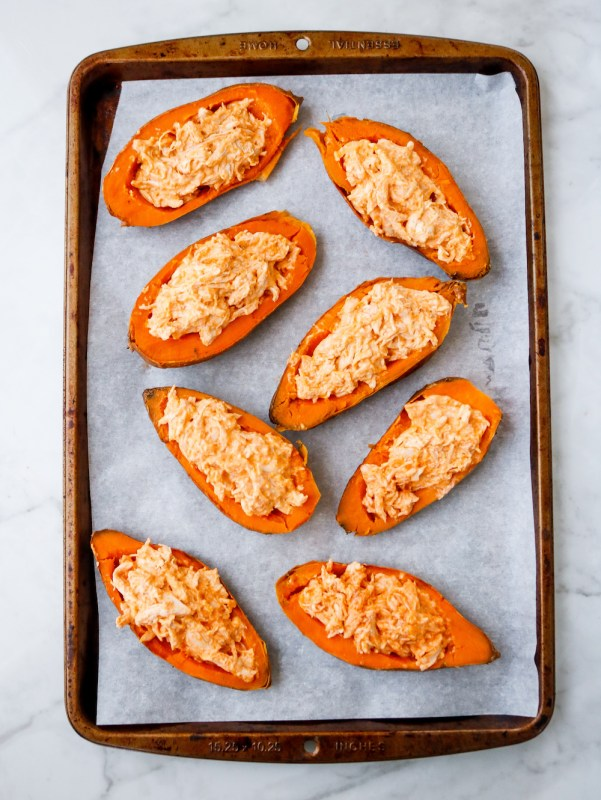 Buffalo Chicken Stuffed Sweet Potato Skins