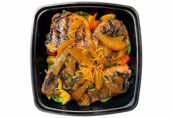 Grilled Center Cut Pork Chops W/ Sherry Apples & Orange Zest