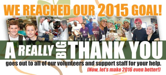 thank you for helping us reach our 2015 packaging goal