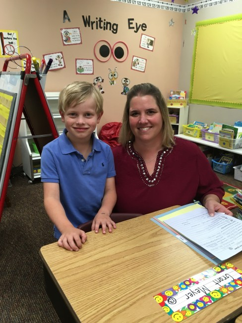 Grant and his first grade teacher, Ms. Srsha.