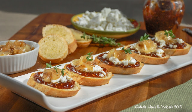 Fig, Goat Cheese and Caramelized Onion Crostini