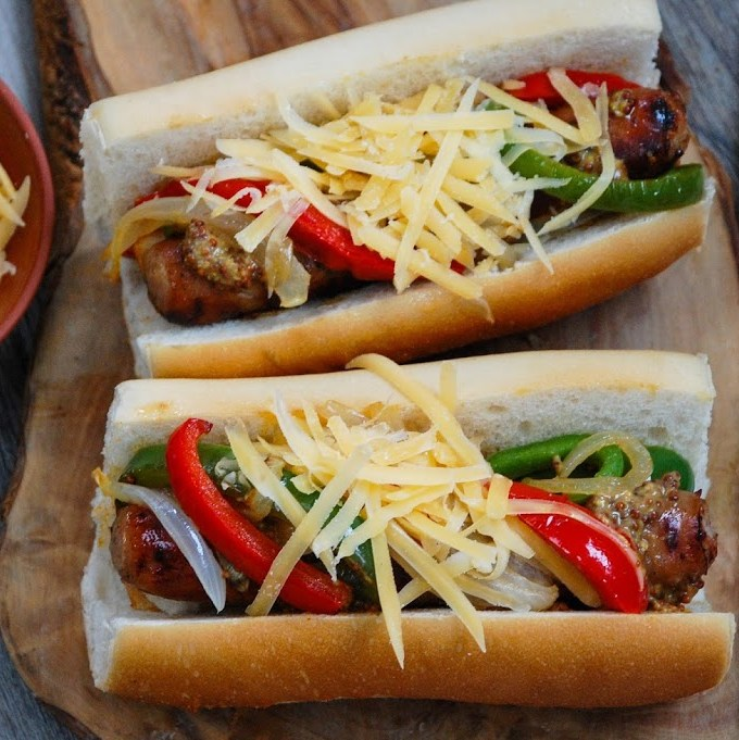 Grilled Brats with Peppers, Onion & Gouda