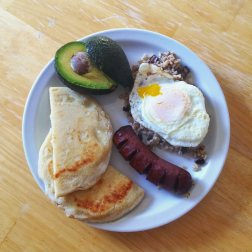 Our traditional Colombian breakfast (Beautiful photo taken by Jenny. And Eric helped by not eating it while the photo was being taken)
