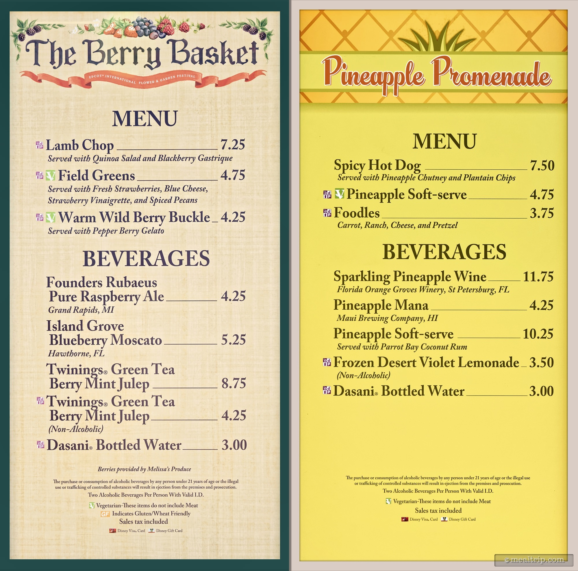 Menu Boards And Prices For 2017 Food Booths Epcot Flower