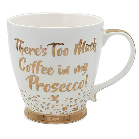 cute gold and white china prosecco gift mug cup