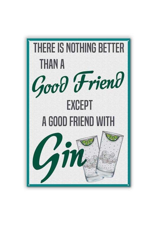 gin friends metal sign