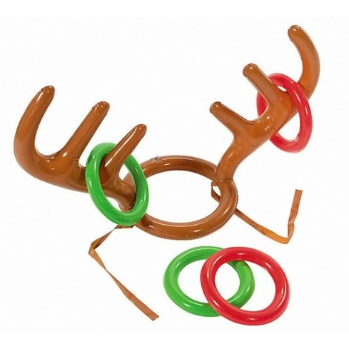 Inflatable Reindeer Antler Hat with Rings