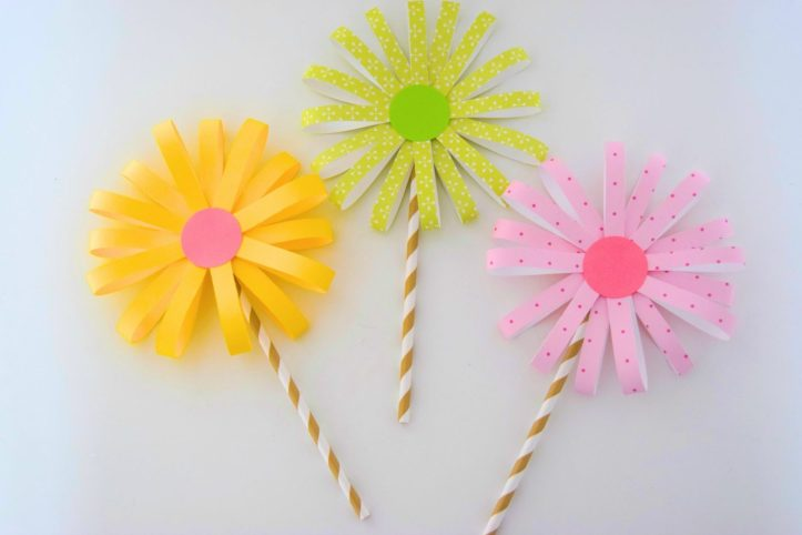 flower craft using straws and paper spring easter craft ideas for kids