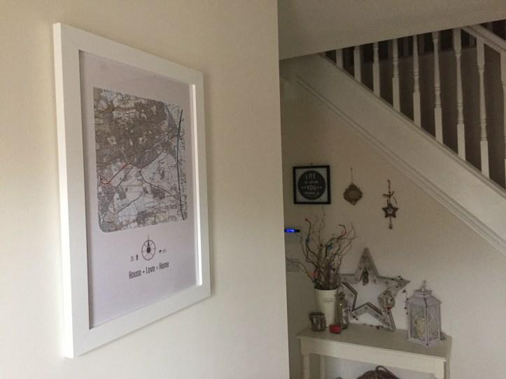 maps international postcode artwork for home using Ordnance survey map hallway