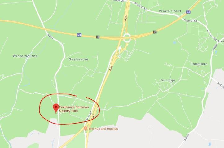 Junction 15, Swindon to Junction 10, Reading - snelsmore common map
