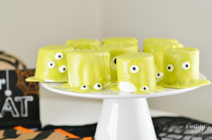 slimer marshmallow monsters - super easy sweet treats, cookies, and recipes for halloween