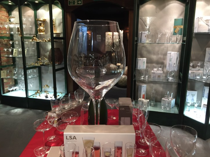 Large wine glass at house of marbles devon and dartmoor