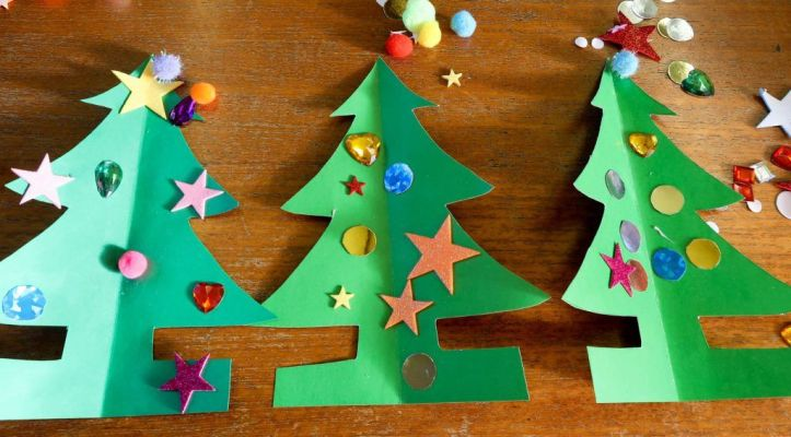 3d Christmas tree card activity to make with kids
