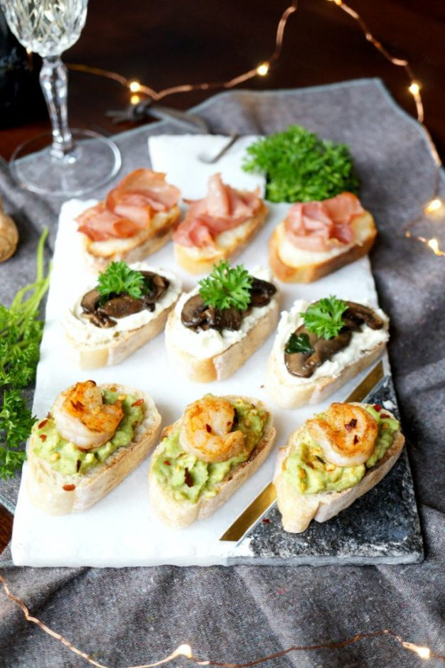 christmas party food and canape ideas - crostini recipes