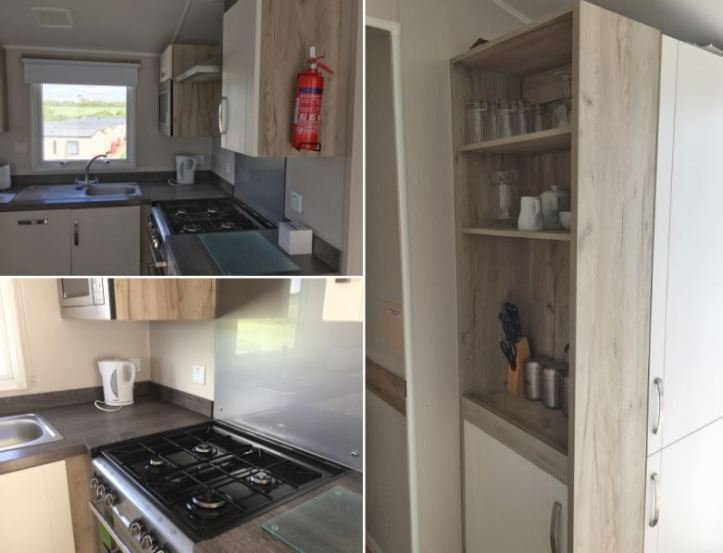 kitchen information at john fowler widemouth bay caravan park