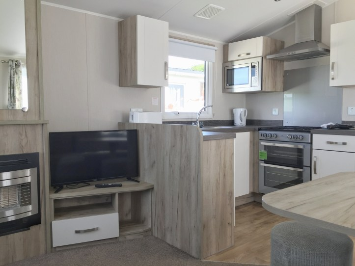 open plan at kitchen information at john fowler widemouth bay caravan park